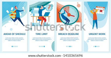 Set Ahead Shedule, Time Limit, Breach Deadline. Vector Illustration is Written Urgent Work. Stress and Poor Emotional State Subordinates, Reduces Efficiency by Several Times. Vector Illustration.