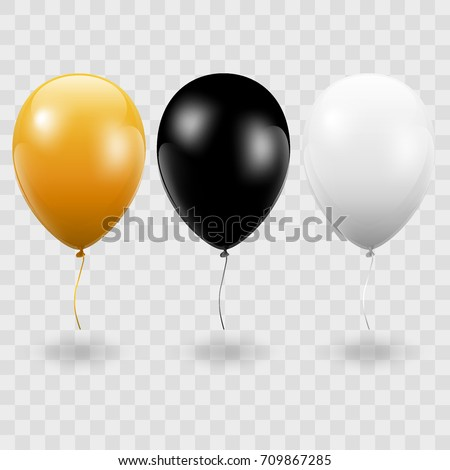 Set. Air Balls. Gold. Black. White Balloons. Transparent background - stock vector