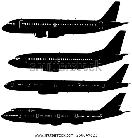 Aircraft Silhouettes Set Stock Image - Image: 34213061