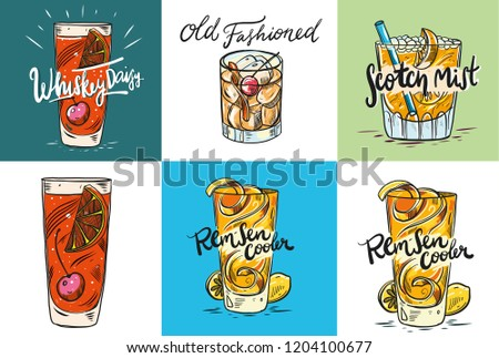 Set alcoholic drinks, cocktails. Summer holiday and beach party concept. Isolated. Vector illustration. #1204100677