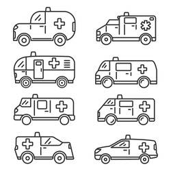 Set Ambulance car van icon.Flat outline vector illustration. Isolated on white background.Line art.Medicine vehicle.First aid car.Emergency car.