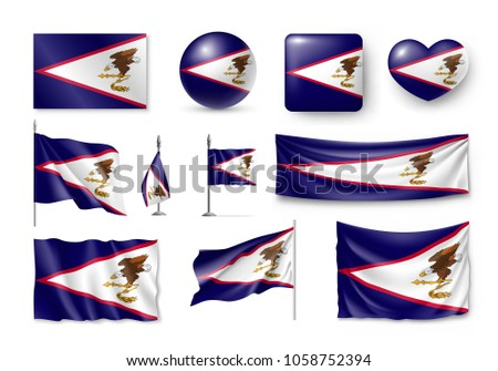 Set American Samoa realistic flags, banners, banners, symbols, icon. Vector illustration of collection of national symbols on various objects and state signs