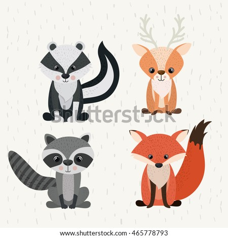 set animals woodland wildlife
