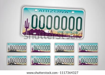 Set Arizona auto license plate. Detailed object. Flat vector illustration.