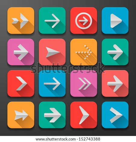 Set arrow icons, flat UI design trend, vector illustration of web design elements.