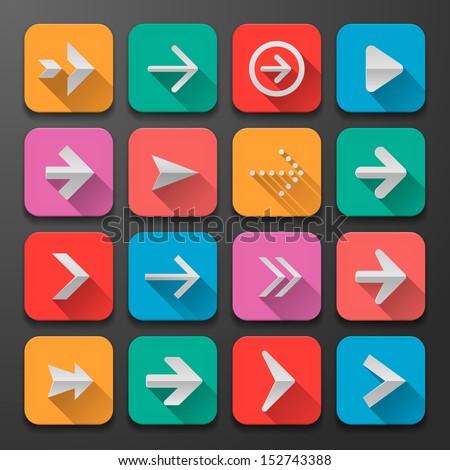 Set arrow icons, flat UI design trend, vector illustration of web design elements.