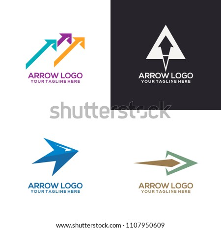 Set arrow logo template vector
