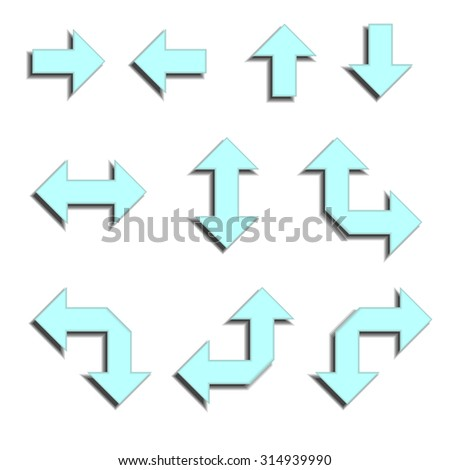 set arrows icons set blue