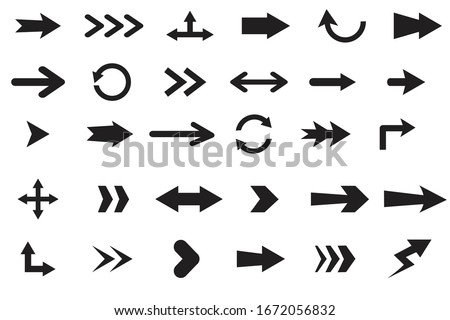 Set  arrows isolated on white background.