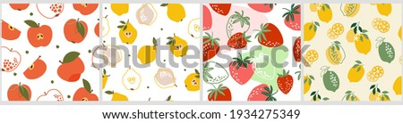 Set artistic seamless patterns abstract fruits. Flowers, simple shapes, leaves, tangerines, apple, oranges, pears, strawberries, citrus  bright summer colors for prints, wallpaper, textiles. Vector.