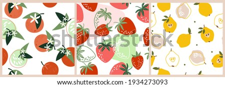 Set artistic seamless patterns abstract fruits. Flowers, simple shapes, leaves, tangerines, oranges, pears, strawberries, citrus fruits bright summer colors for prints, wallpaper, textiles. Vector.