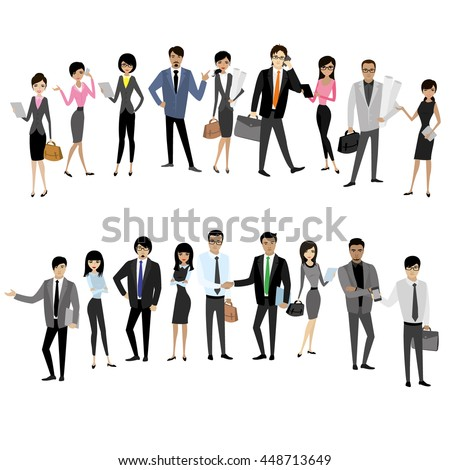 set asian businessmen and