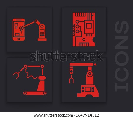 Set Assembly line, Industrial machine robotic robot arm hand, Electronic computer components motherboard digital chip and Industrial machine robotic robot arm hand factory icon. Vector
