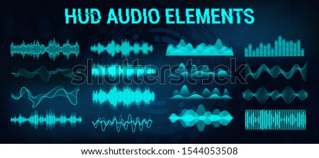 Set audio equalizer in futuristic style HUD, concept tech sound wave. Microphone voice control technology, voice and sound recognition. Music waves, equalizer bar. Vector illustration