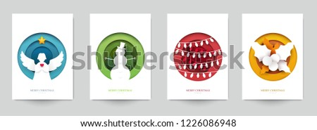 Set background for covers, invitations, posters, banners, flyers, placards. Minimal template design for branding, advertising with winter christmas composition in paper cut style. Vector illustration. #1226086948