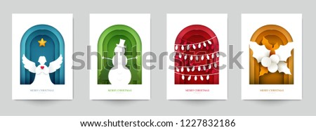 Set background for covers, invitations, posters, banners, flyers, placards. Minimal template design for branding, advertising with winter christmas composition in paper cut style. Vector illustration. #1227832186