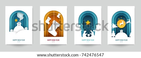 Set background for covers, invitations, posters, banners, flyers, placards. Minimal template design for branding, advertising with winter christmas composition in paper cut style. Vector illustration. #742476547