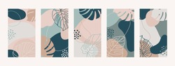 Set Backgrounds With Monstera Leaves and Abstract Shapes. Modern Mobile Wallpapers in minimalist trendy style for social media stories. Vector illustration in pastel colors green, pink, beige