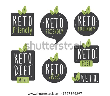 Set badge keto diet. Vector flat illustration. Ketogenic diet logo sign. Keto diet menu. Collection round, square, in the form of vegetables icon keto friendly diet with leaves isolated on white.