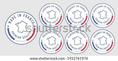 set badge logotype of Made in France badge with ribbon and flag on white background, modern color symbol logo for packaging design Stock photo ©