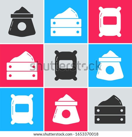Set Bag of flour, Wooden box with harvest and Bag of flour icon. Vector