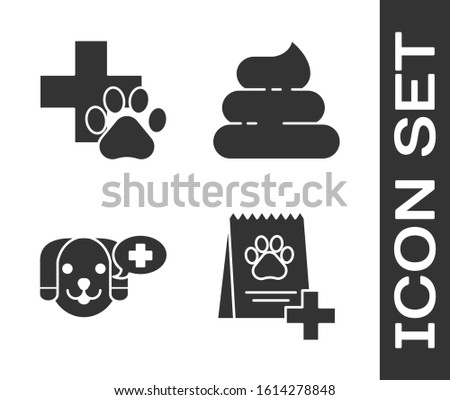 Set Bag of food for dog, Veterinary clinic symbol, Veterinary clinic symbol and Shit icon. Vector