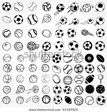 set ball sports icons symbols