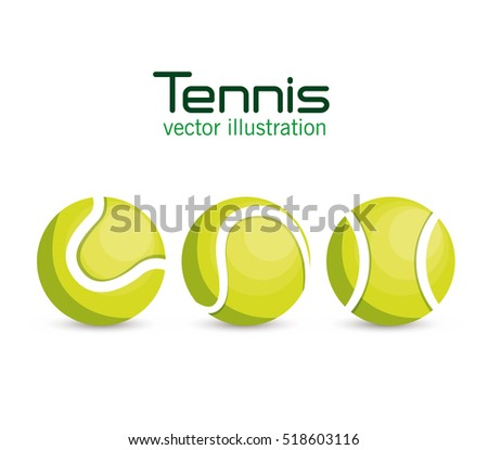 set ball tennis sport graphic