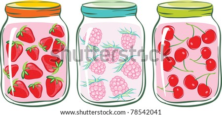 set banks with fruit compote. strawberry, raspberry and cherry