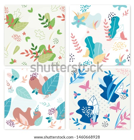 Set Banner Flower Decorations Vector Illustration. Poster Floral Ornament Flowers and Leaves Different Colors. Bright Summer Card with Butterflies and Plants. Collection Botany Composition.