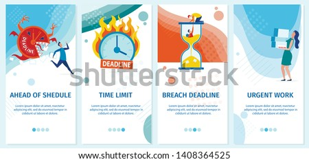 Set Banner is Written Urgent Work Landing Page. Vector Illustration Inscription ahead Shedule, Breach Deadline, Time Limit. Deadline as an Incentive for Employees to Perform Tasks.