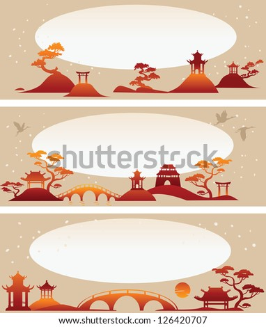 Set banners: Abstract Asian Landscapes