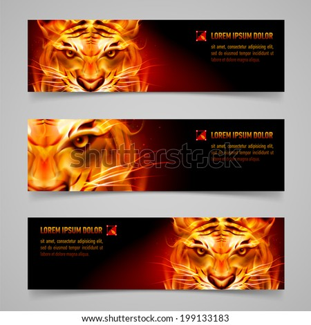 set banners fire tiger message