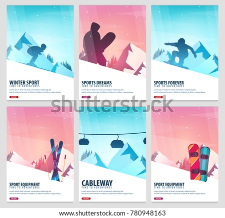 set banners of winter sport