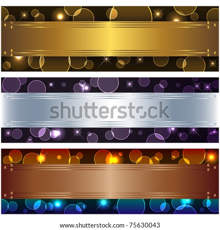 Set banners with boke and design elements. 10eps vector.