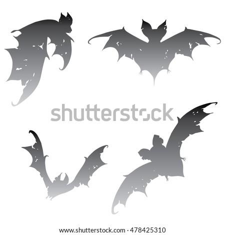 Set bats. Collection of bats. Flying bats. Halloween. Cartoon bats. Line art. Drawing by hand. Doodle. Tattoo.