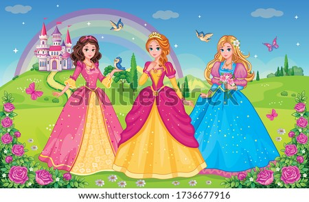 Set  beautiful elf princesses. Children's background with castle, rainbow and fabulous flower meadow. Wallpaper for girl. Wonderland. Cartoon illustration. Postcard for friends or family. Vectot.  Сток-фото ©