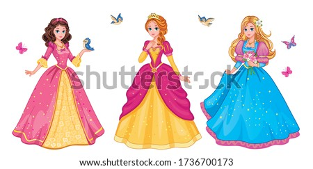Set beautiful fairytale Elf princess on white background. Children's illustration for print or sticker. Isolated illustration. Romantic story. Wonderland. Postcard for friends or family. Vector.  Сток-фото ©