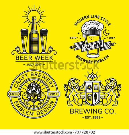 Set beer logo - vector illustration, emblem brewery design modern line style.