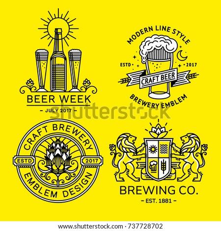 Set beer logo - vector illustration, emblem brewery design modern line style.
