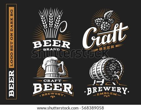 set beer logo   vector
