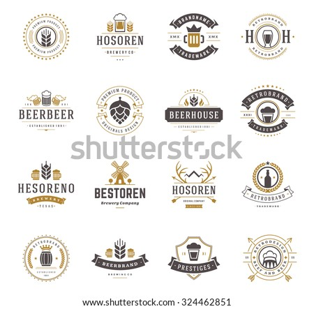 set beer logos  badges and