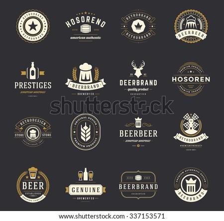 Set Beer Logos, Badges and Labels Vintage Style. Design elements retro vector illustration.