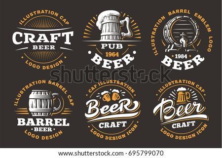 Set beer logos - vector illustration, emblem brewery design on black background