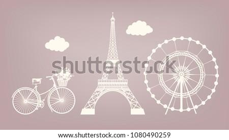 set  bicycle  eiffel tower