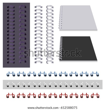Set binder spring isolated on white. Vector illustration
