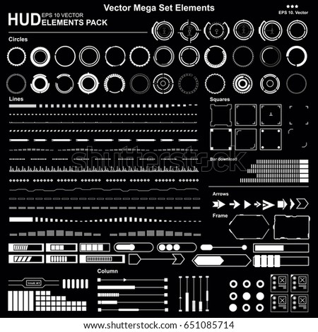 Set Black and white HUD interface elements, lines, circles, pointers, frames for web applications, display elements for the web