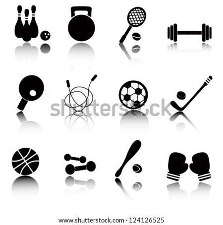 Set black and white icon with sports items