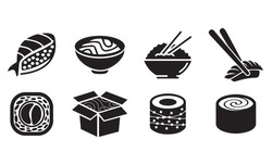 set black and white sushi icons. Asian cuisine. chinese food rice and fish. roll. sushi bar. logo.