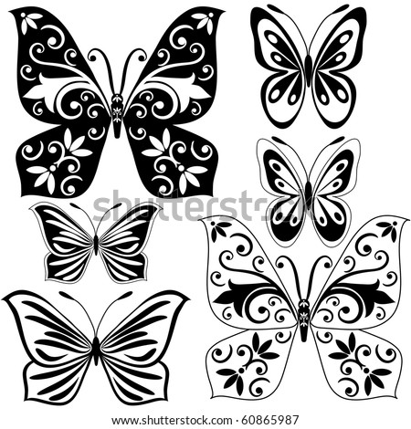 Set black and white vintage butterflies for design isolated on white (vector)